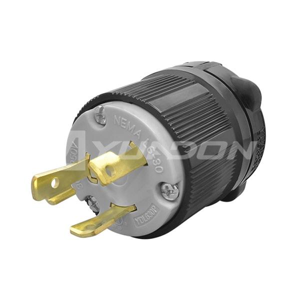 NEMA L6-30P 三极自锁防松美式插头 锁式防脱落插头 引挂式电源插头