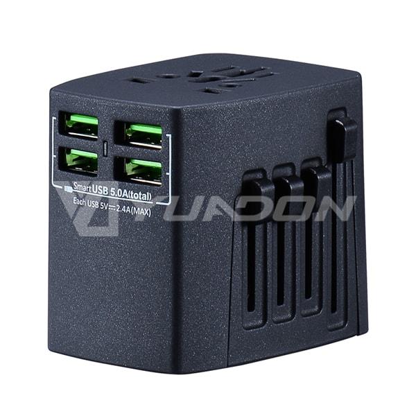 四USB全球通多功能转换插头充电器 美国欧洲英国的等可用
