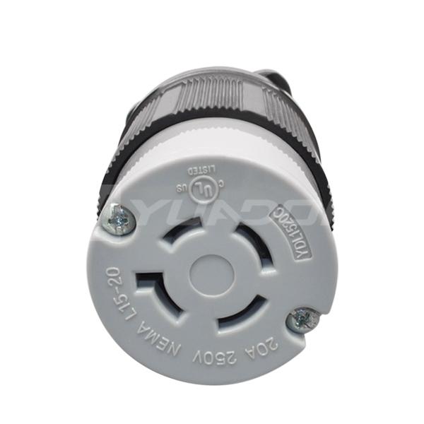 现货NEMA L15-20C美式四孔工业jrs直播免费直播台球 20A美标耐高温锁扣式组装jrs直播免费直播台球